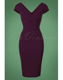 50s Brenda Pencil Dress In Aubergine afbeelding