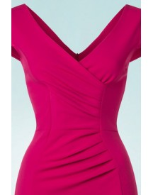 50s Brenda Pencil Dress In Magenta afbeelding