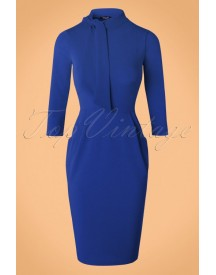 50s Brianna Tie Neck Pencil Dress In Royal Blue afbeelding