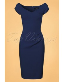 50s Candace Pencil Dress In Navy afbeelding