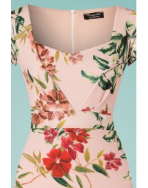 50s Cecilia Floral Pencil Dress In Light Pink afbeelding