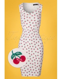50s Cherry Pencil Dress In White afbeelding