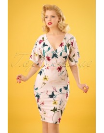 50s Cheryle Lilly Kimono Pencil Dress In Powder Pink afbeelding