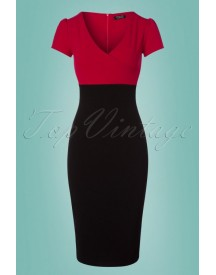 50s Kristy Pencil Dress In Black And Red afbeelding