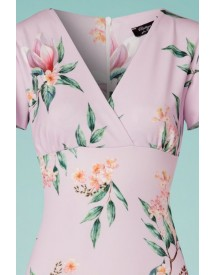 50s Lilly Floral Pencil Dress In Lilac afbeelding