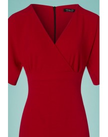 50s Lorraine Pencil Dress In Red afbeelding