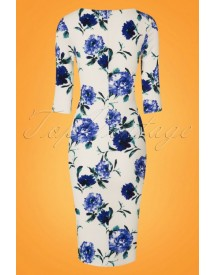 50s Lynne Flower Pencil Dress In White And Blue afbeelding