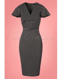 50s Mindy Stripes Pencil Dress In Black And White afbeelding