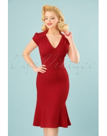 50s Pephem Pencil Dress In Lipstick Red afbeelding