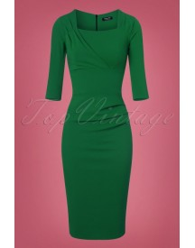 50s Rhonda Pleated Pencil Dress In Emerald Green afbeelding