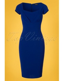 50s Rowena Pleated Pencil Dress In Royal Blue afbeelding