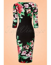 60s Aloha Tropical Garden Pencil Dress In Black afbeelding