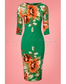 60s Aloha Tropical Garden Pencil Dress In Emerald Green afbeelding