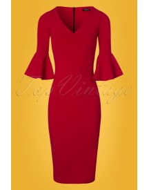 70s Lizzie Pencil Dress In Lipstick Red afbeelding