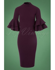 70s Lora Pencil Dress In Aubergine afbeelding