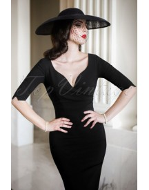 The Bombshell Sleeved Pencil Dress In Black afbeelding