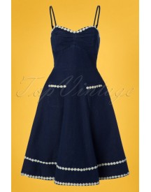 50s Daisy May Flared Dress In Denim afbeelding