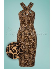 50s Lauren Pencil Dress In Leopard afbeelding