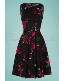 50s Sarah Flared Floral Dress In Black afbeelding