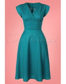 50s Tabby Polkadot Dress In Teal afbeelding