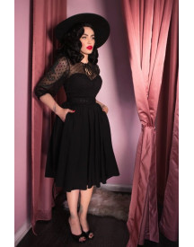 Topvintage Exclusive ~ 30s Frenchie Swing Dress In Black afbeelding