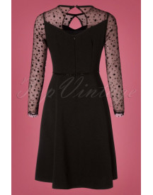50s Becky Dots Mesh Dress In Black afbeelding