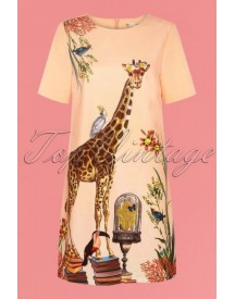 60s Giraffe Tunic Dress In Light Peach afbeelding