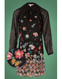 70s Botanical Gradient Tunic Dress In Black afbeelding