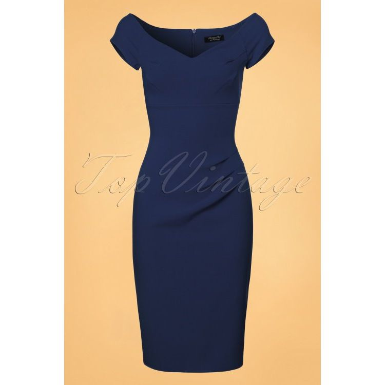 Image 50s Candace Pencil Dress In Navy