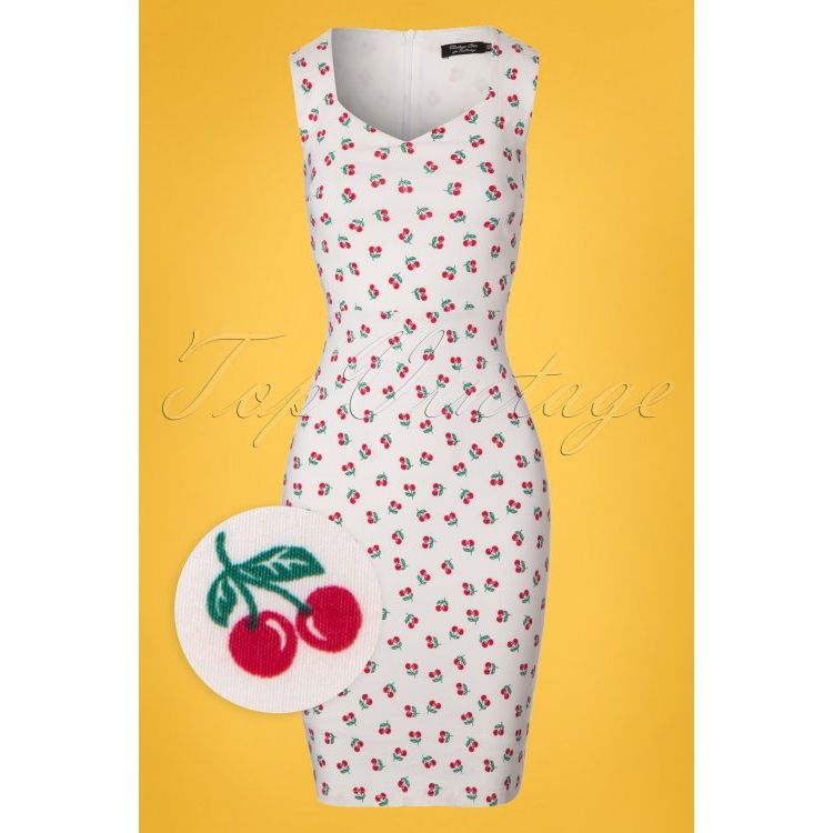 Image 50s Cherry Pencil Dress In White