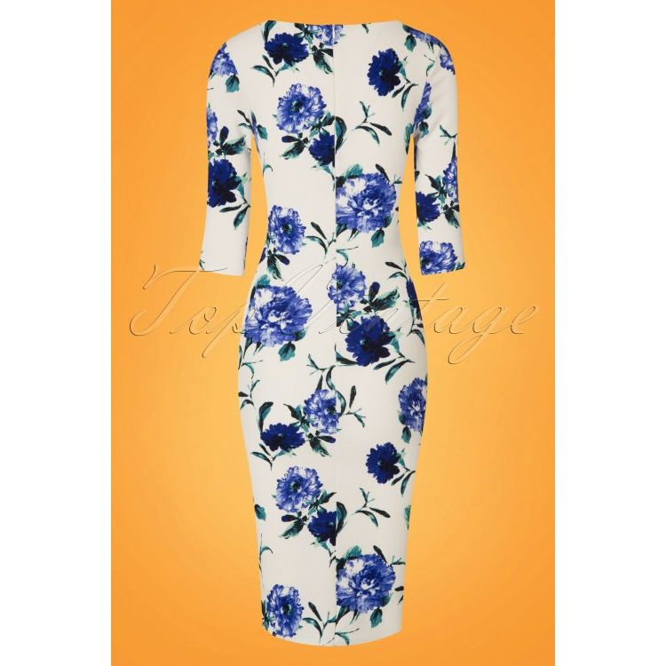 Image 50s Lynne Flower Pencil Dress In White And Blue