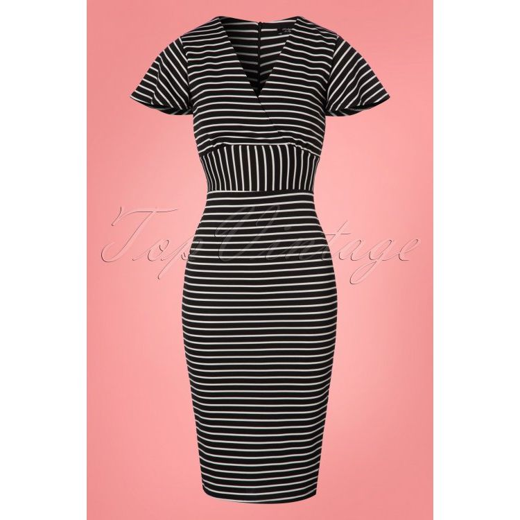 Image 50s Mindy Stripes Pencil Dress In Black And White