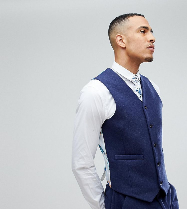 Image Asos Tall Wedding Skinny Suit Waistcoat In Navy Wool Mix