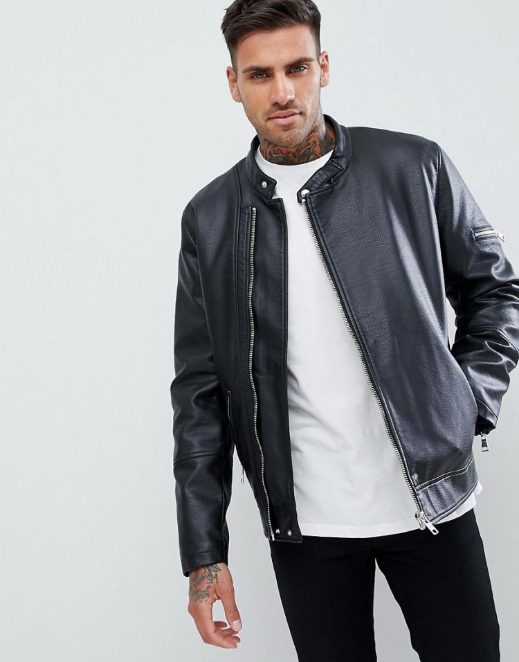 Image Asos Design Faux Leather Racing Biker Jacket
