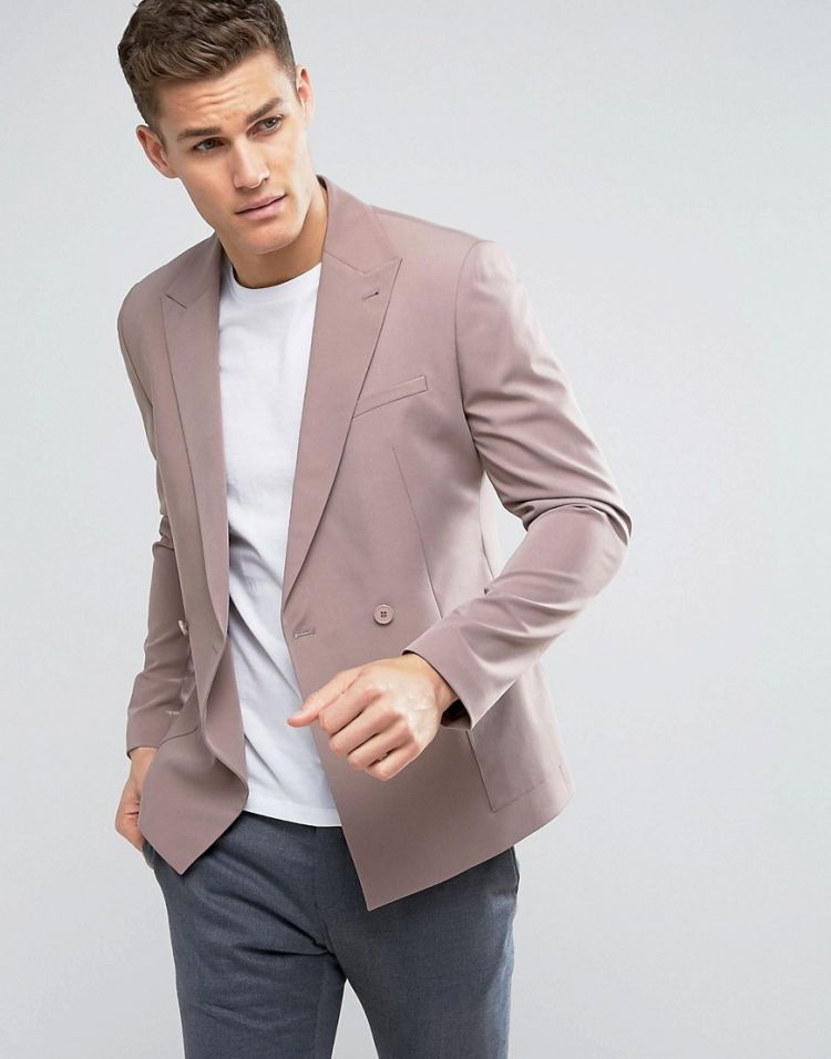 Image Asos Skinny Double Breasted Blazer In Dusky Pink