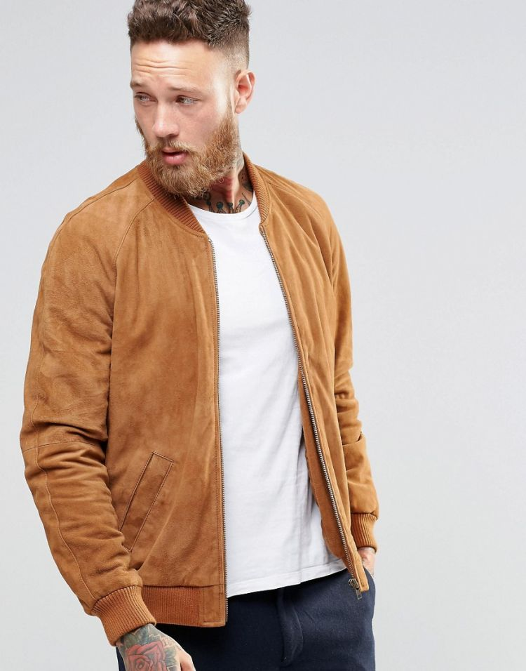 Image Asos Suede Bomber Jacket In Tan