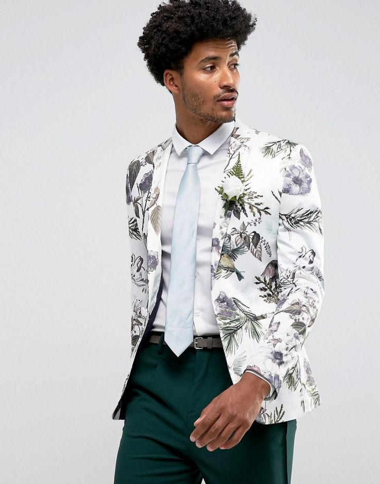 Image Asos Wedding Super Skinny Blazer With Watercolour Floral Print