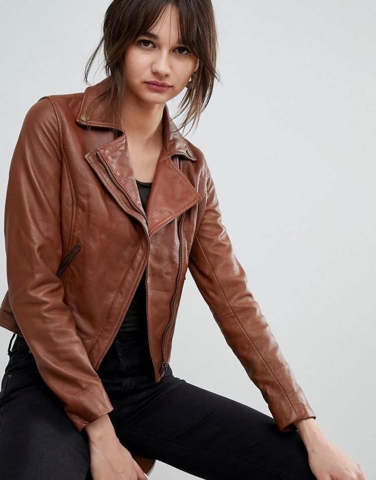 Image Barney's Originals Leather Biker Jacket With Diagonal Zip Detail