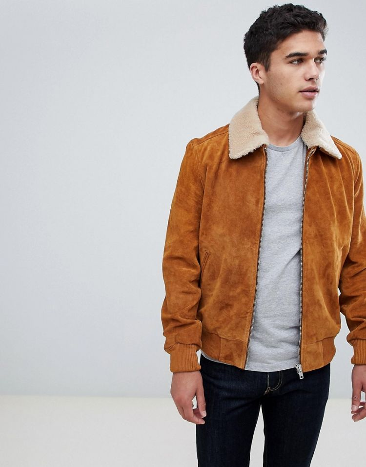 Image Barney's Originals Suede Bomber Jacket With Borg Collar