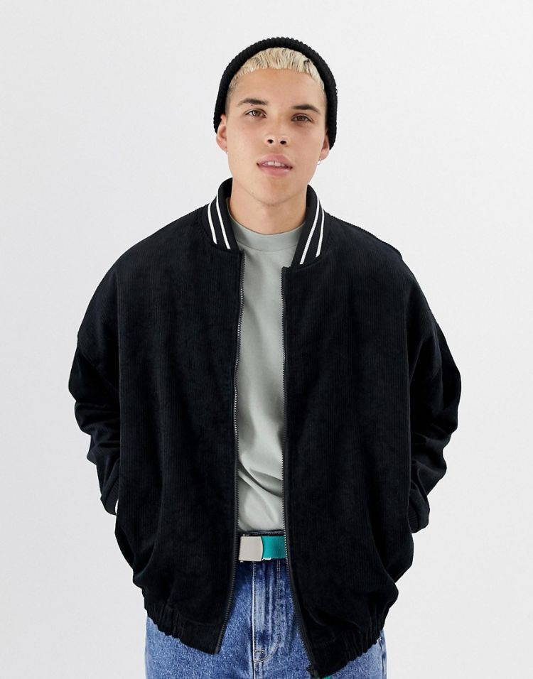 Image Collusion Oversized Cord Bomber Jacket In Black