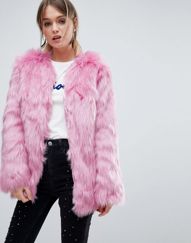 Image Miss Selfridge Faux Fur Coat