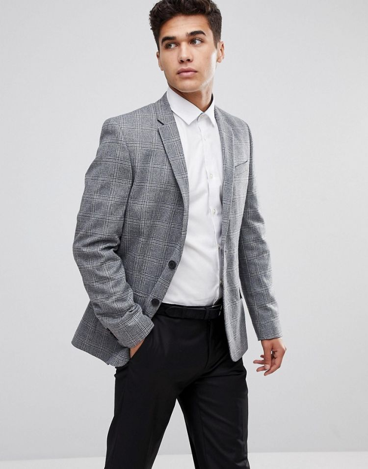 Image New Look Blazer In Wide Check Print In Grey