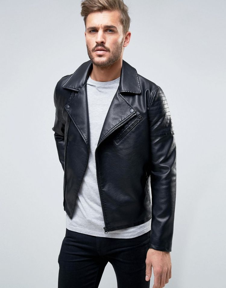 Image Only & Sons Biker Jacket In Faux Leather