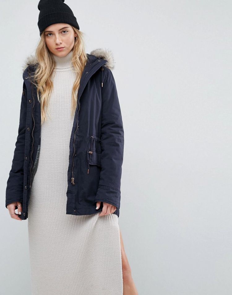 Image Parka London Alana Faux Fur Trim Parka Coat