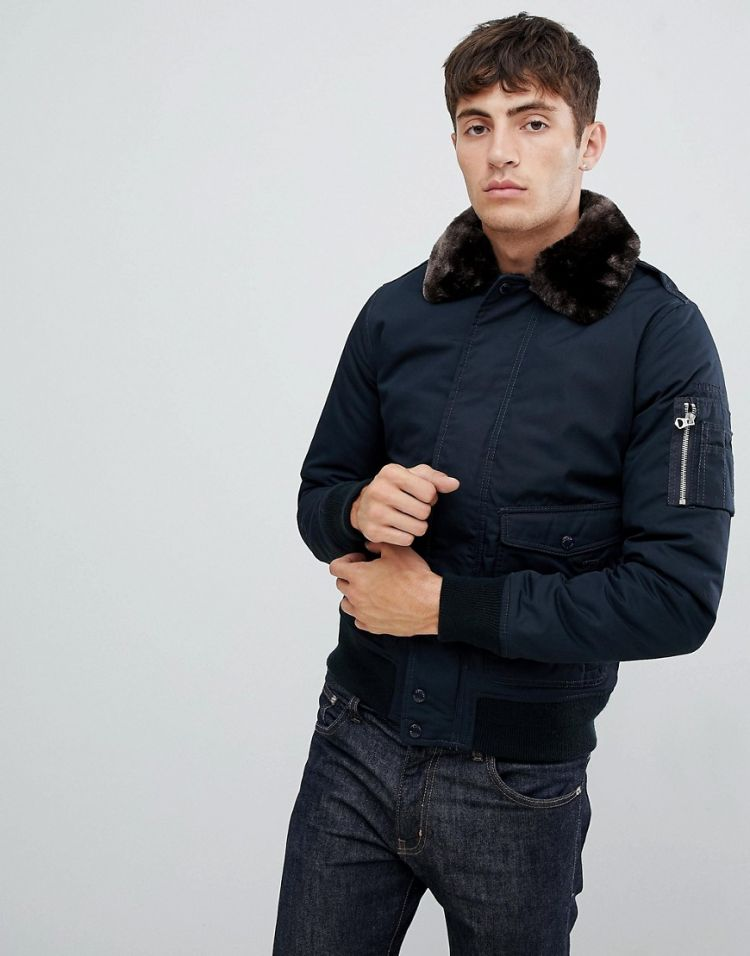 Image Schott Air Bomber Jacket With Detachable Faux Fur Collar In Slim Fit In Navy/brown