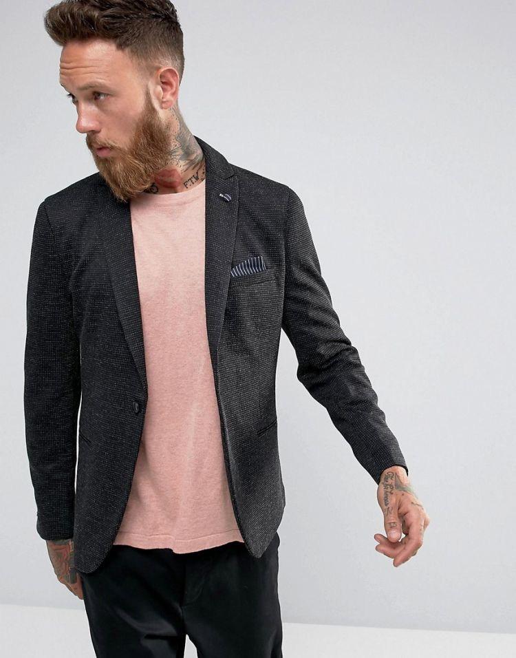 Image Selected Homme Slim Blazer In Texture