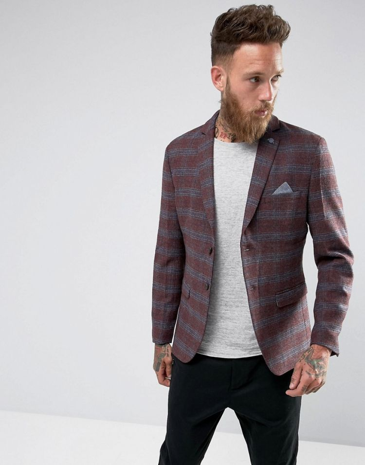 Image Selected Homme Slim Wool Mix Blazer In Check