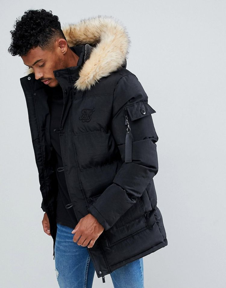 Image Siksilk Parka Jacket With Faux Fur Hood In Black