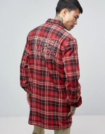 10 Deep Flannel Long Coach Jacket With Back Print afbeelding