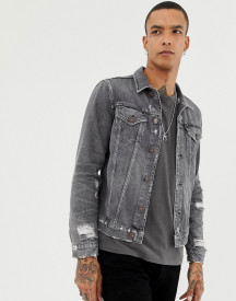 Allsaints Denim Jacket In Washed Black With Distress afbeelding